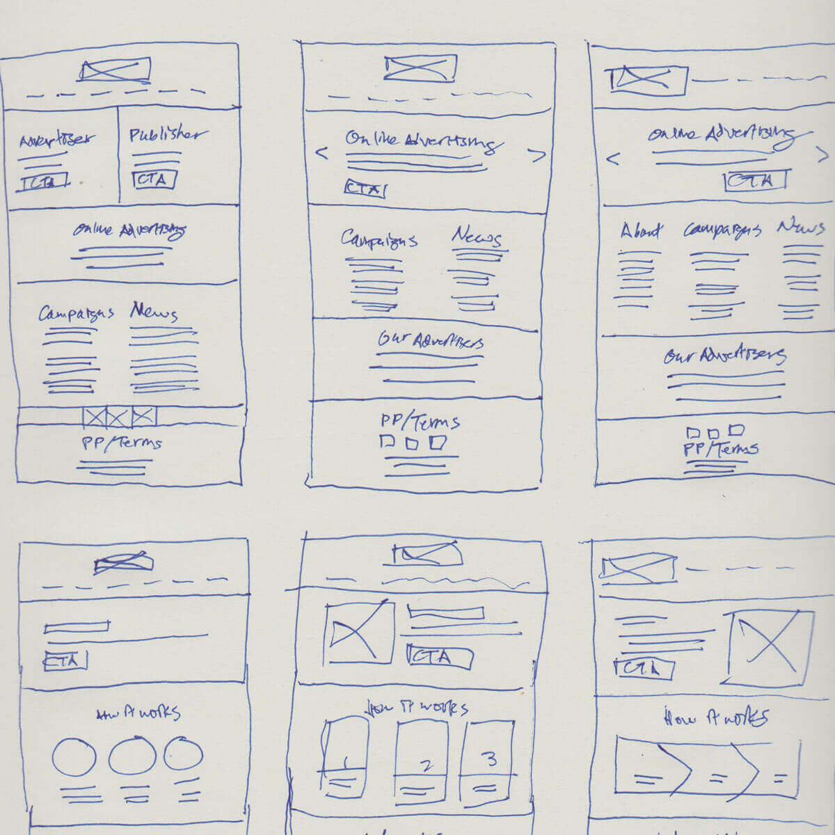 Guppy Media website sketches